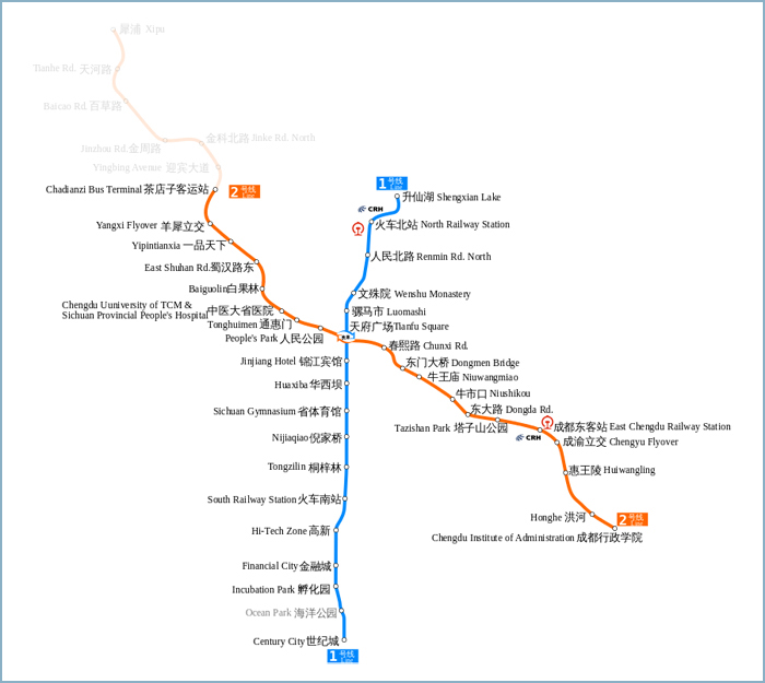 Detailed Chengdu Subway Route Map