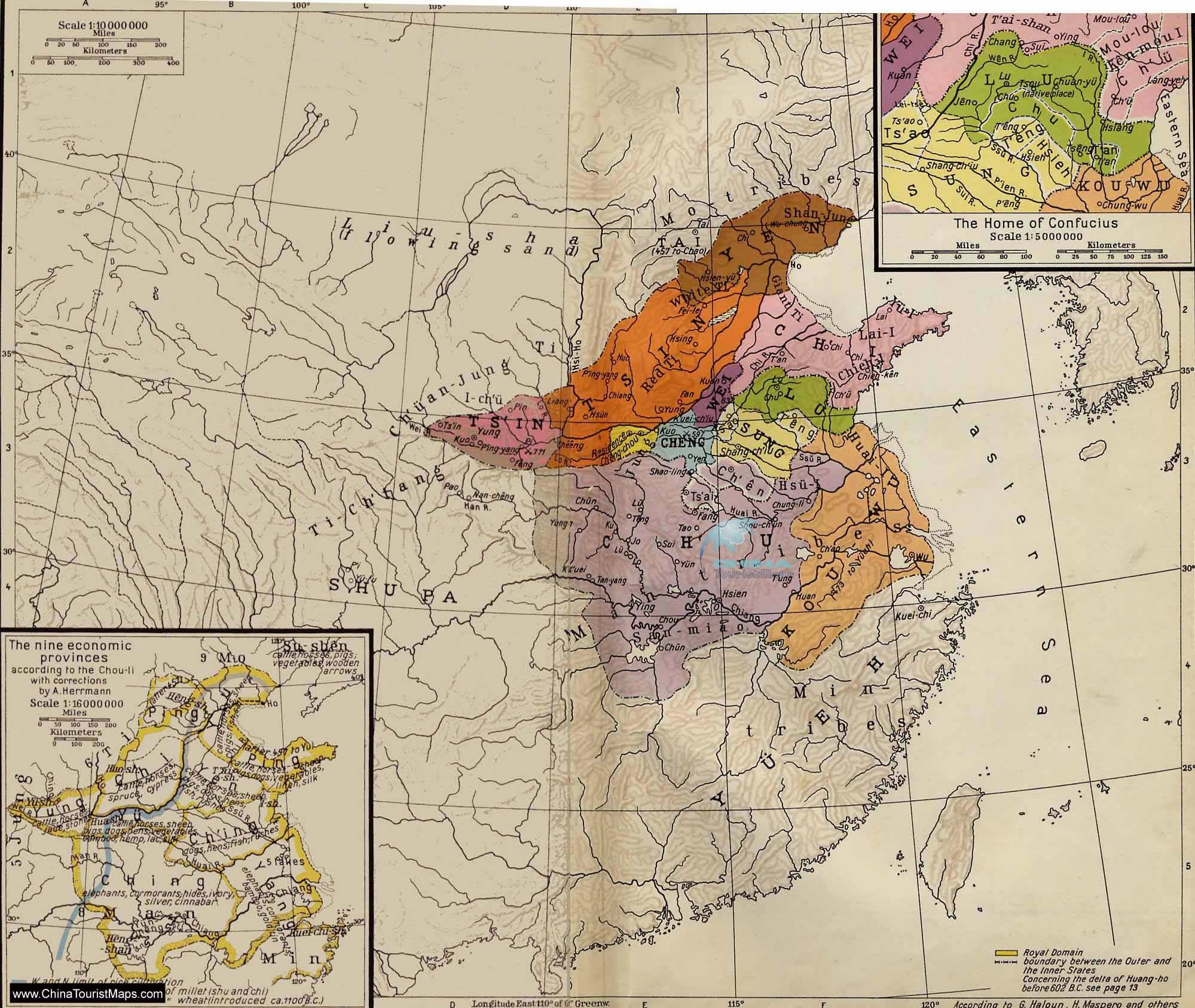 spring and autumn period map  ancient china map
