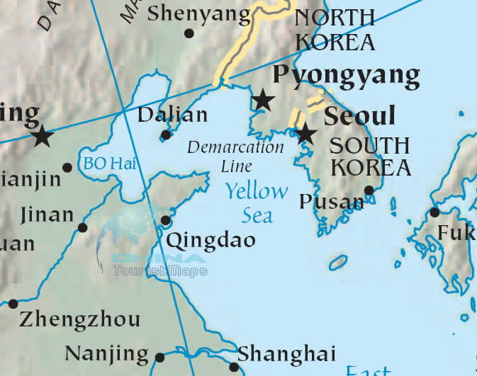 Yellow Sea Map Detailed Map of Huang Hai