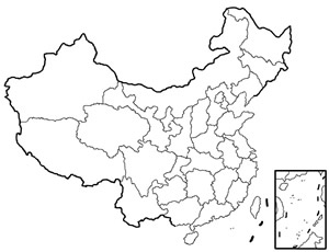 China Blank Map, Blank Map of China, China Blank Map with Beijing