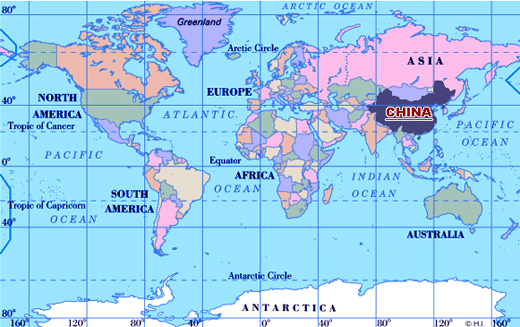 China Location Map China S Location In The World