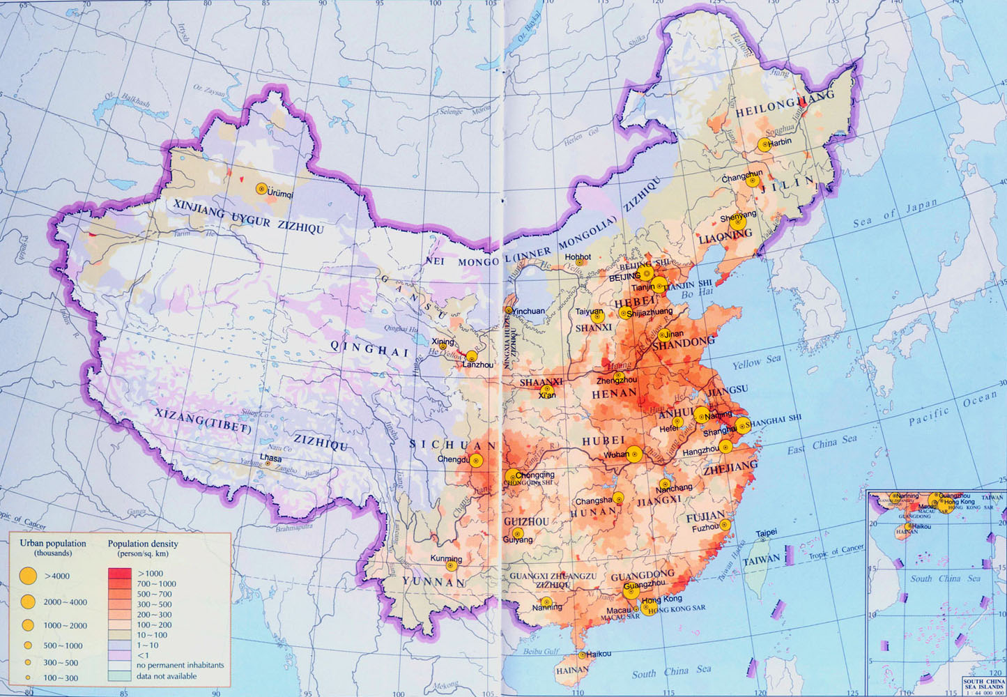Detailed map of china population