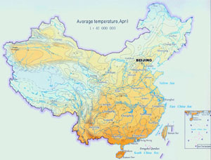 Climate map of china china weather map china climate map aaverage temperature in april gumiabroncs Gallery