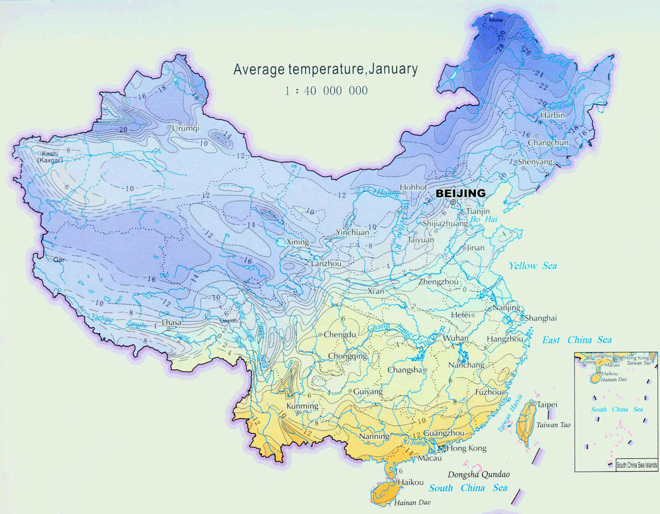 Climate map of china china weather map china climate map aaverage temperature in january gumiabroncs Images