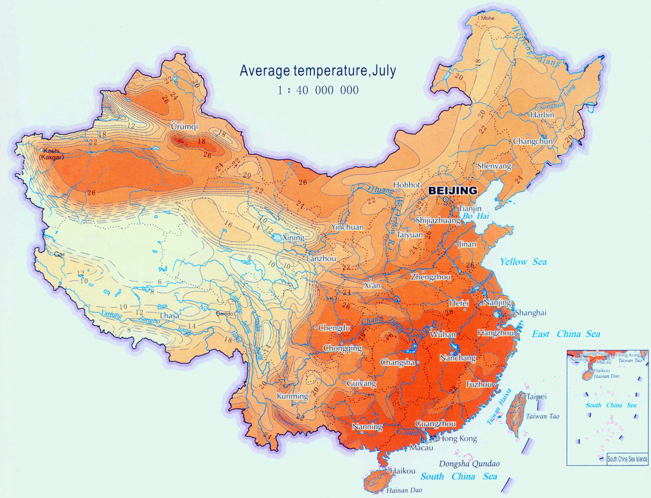 Climate map of china china weather map china climate map aaverage temperature in summer gumiabroncs Images
