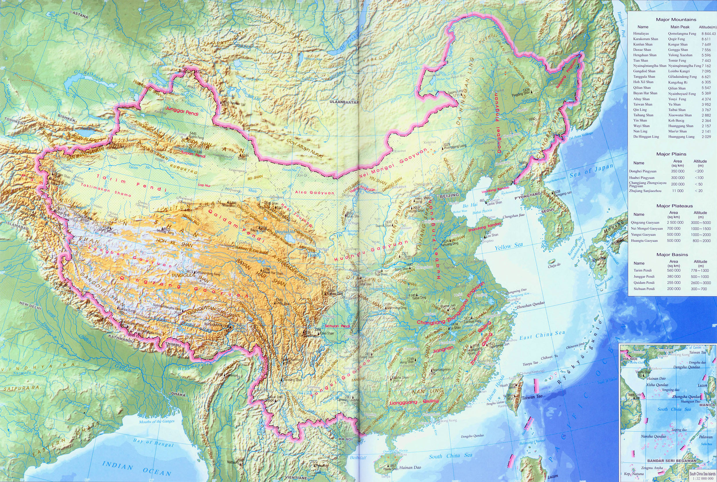 Detailed physical map of china, China Topography Map, Map of China