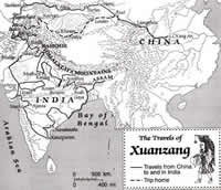 Silk road map -Xuan Zang