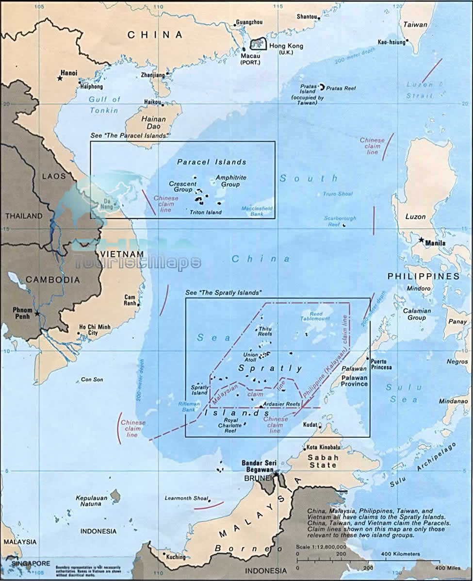 South China Sea Map, Detailed & Printable Map of South China Sea