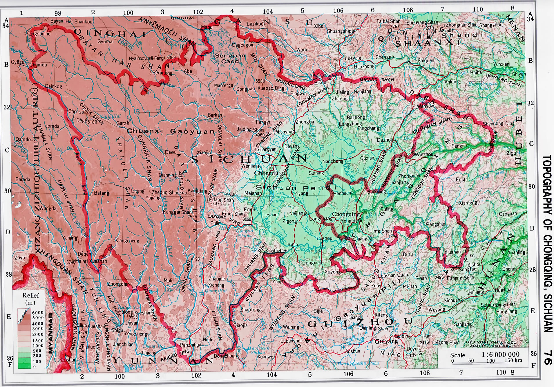 Topography Maps of Chongqing, Sichuan