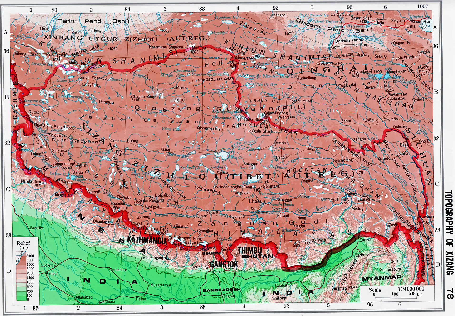 Topography Of Xizang Tibet Topography Map