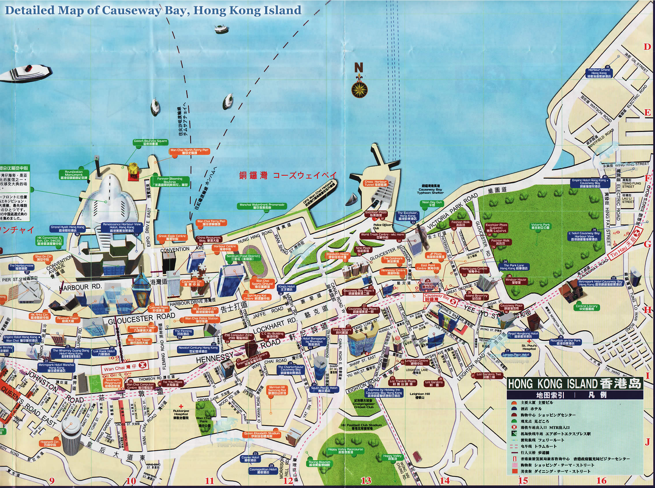 Map of Causeway Bay, Hong Kong