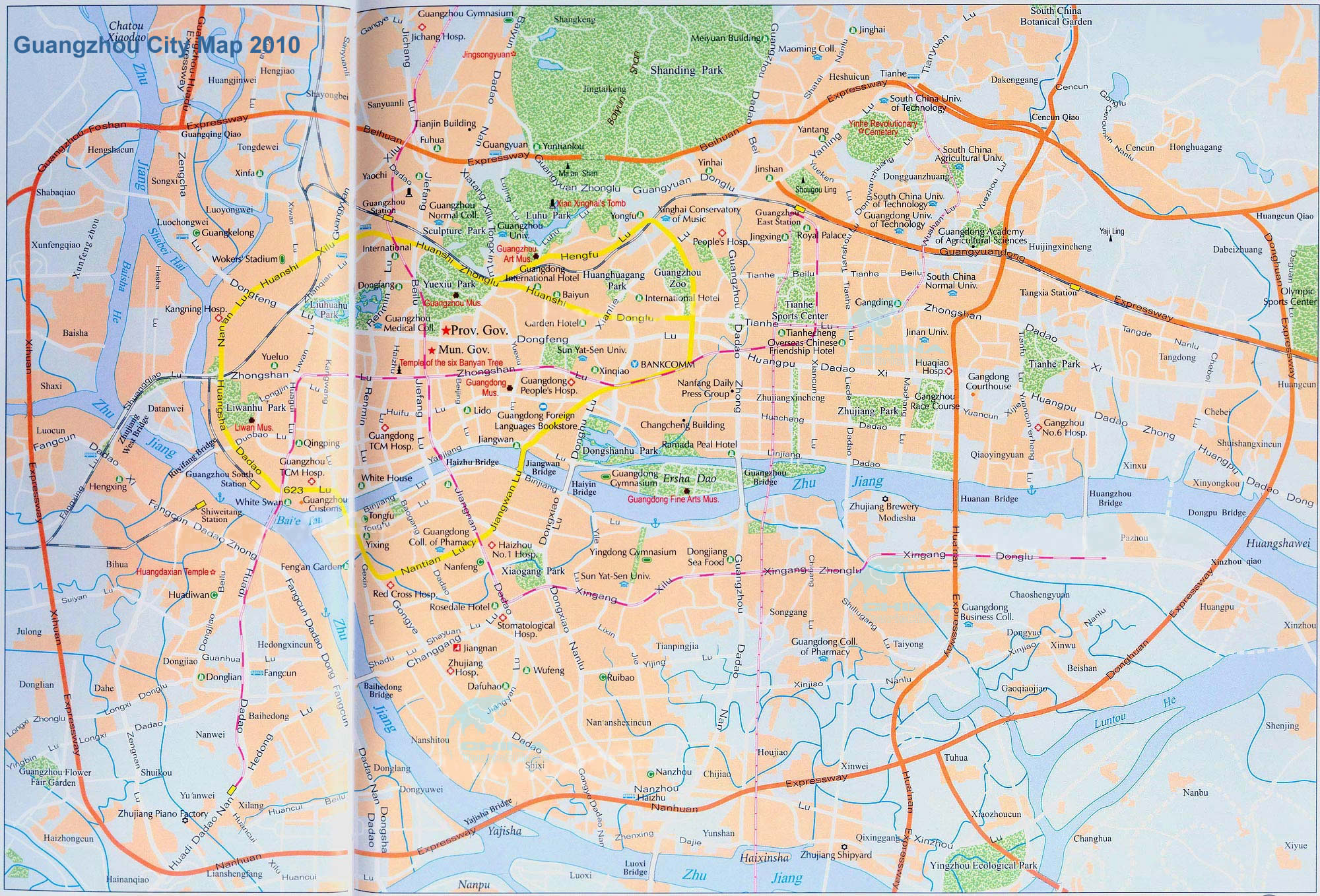 Detailed Guangzhou Map, Map Guangzhou Central, Guangzhou Downtown Map Guangzhou Map