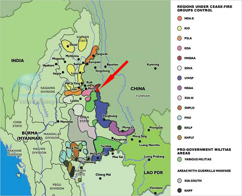 Info and Maps of Myanmar Fighting Refugees from Kokang to Nansan – Burma Tourist Map