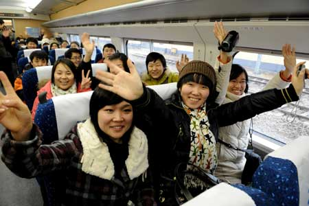 Passenger in the Zhengzhou-Xian High-speed Train