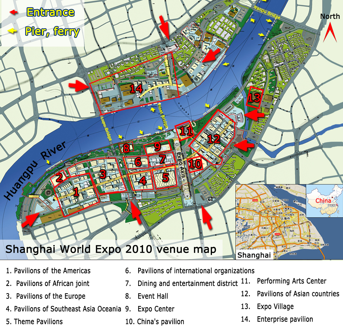 Detailed Shanghai Expo Map, Shanghai Expo Pavilion Map