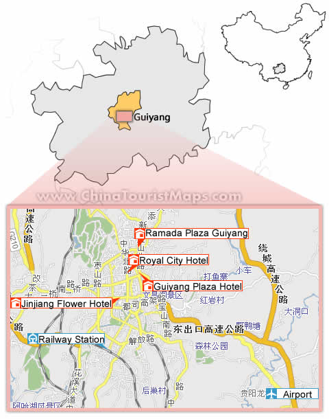 Guiyang Hotel Map, Hotel Map of Guiyang China