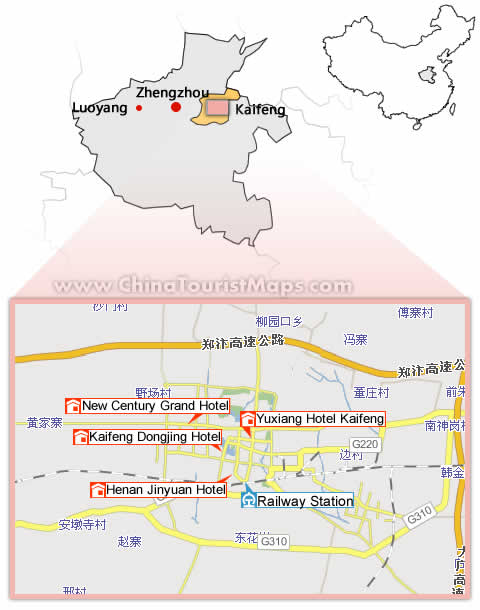 Kaifeng China  City new picture : Kaifeng Hotels Map, Hotel Map of Kaifeng China