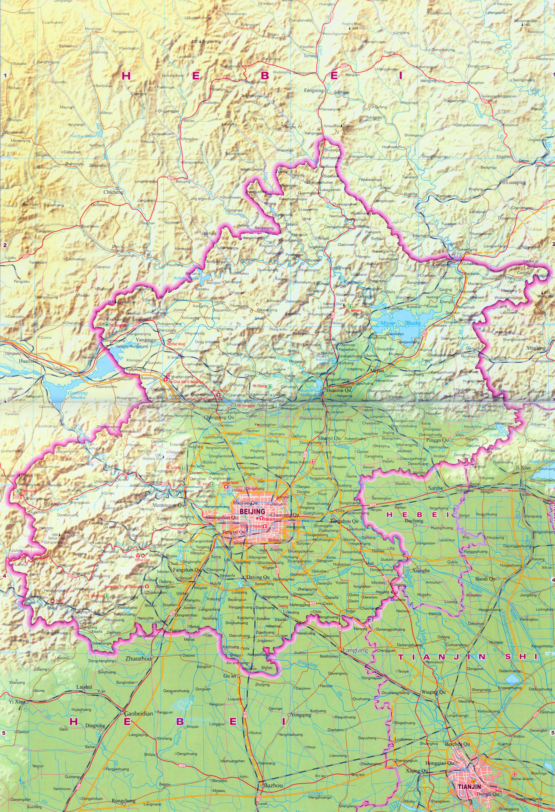 Beijing Districts Map Beijing Region Map Beijing Province Map