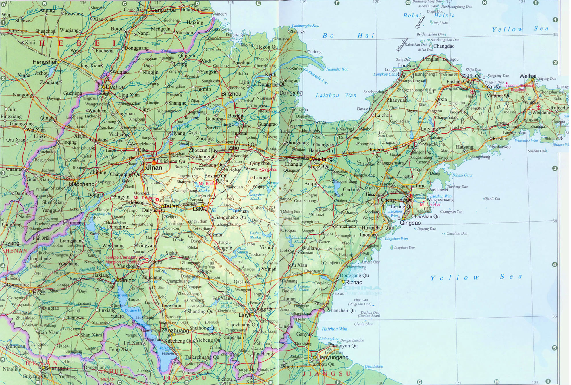 Shangdong Maps Map Of Shandong Shandong Province Map China - Yantai map