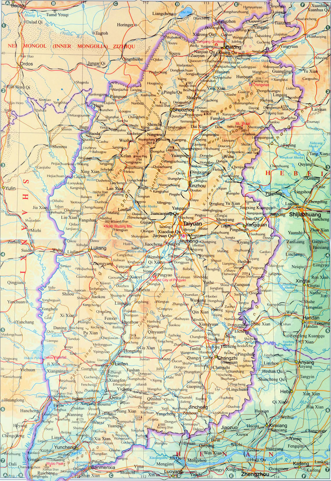Shanxi China Map.Shanxi Map Map Of Shanxi Shanxi Province Map