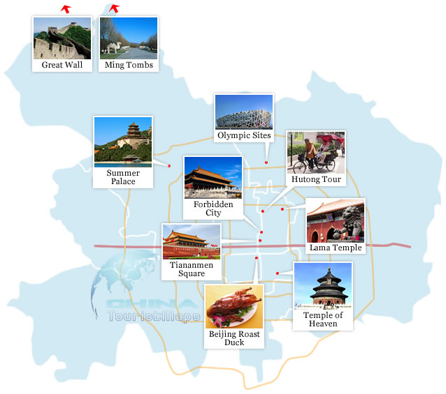 Beijing Top 10 Attractions Map