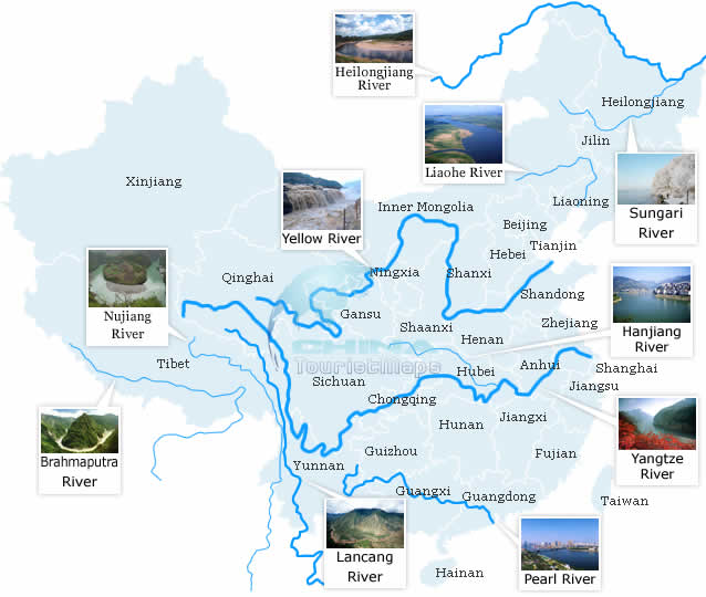 China Top 10 Rivers map