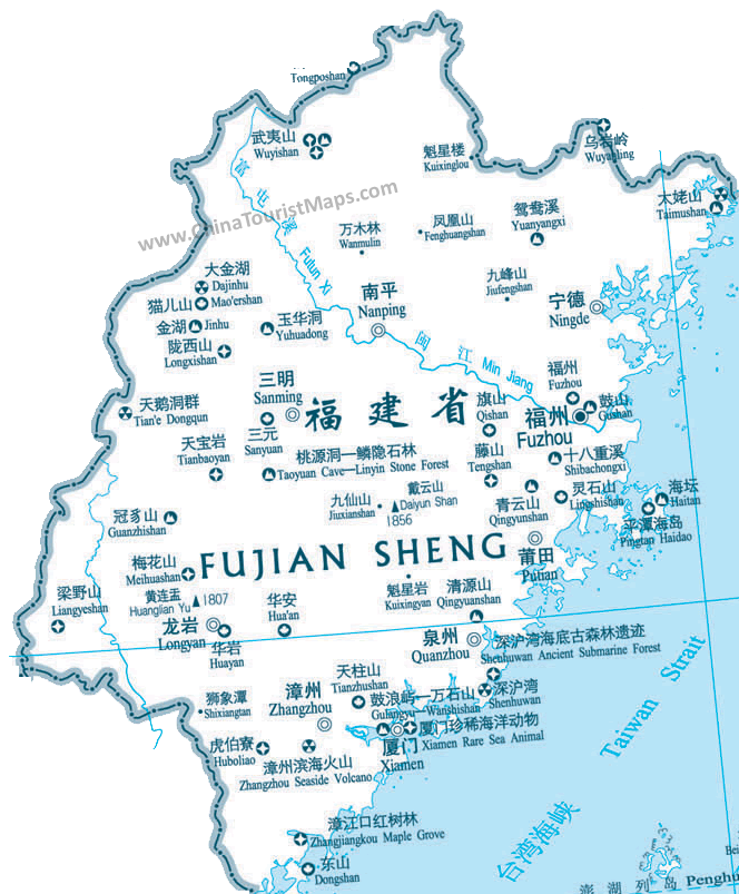 Map Of Fujian Attractions Places Of Interest