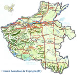 Henan Location & Topography Map