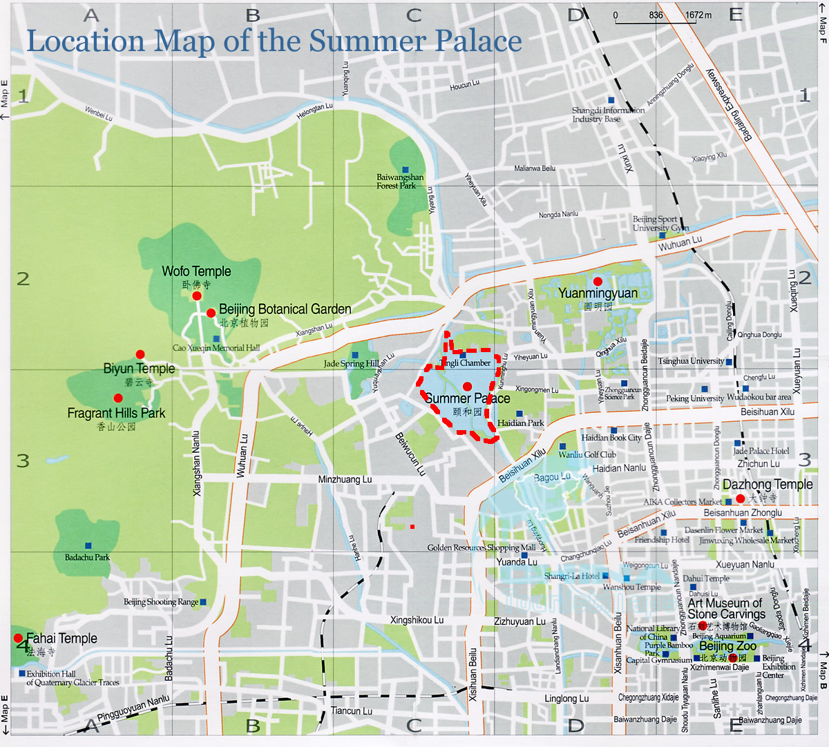 Map Of China And Surrounding Areas.Location Map Of The Summer Palace And Surrounding Area Beijing China