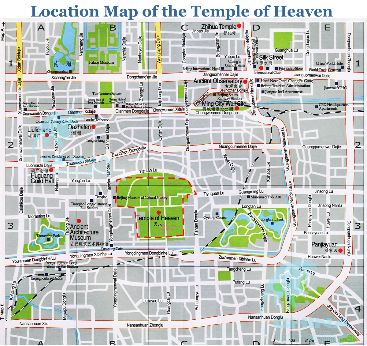 Map Of China And Surrounding Areas.Location Map Of The Temple Of Heaven And Surrounding Area Beijing