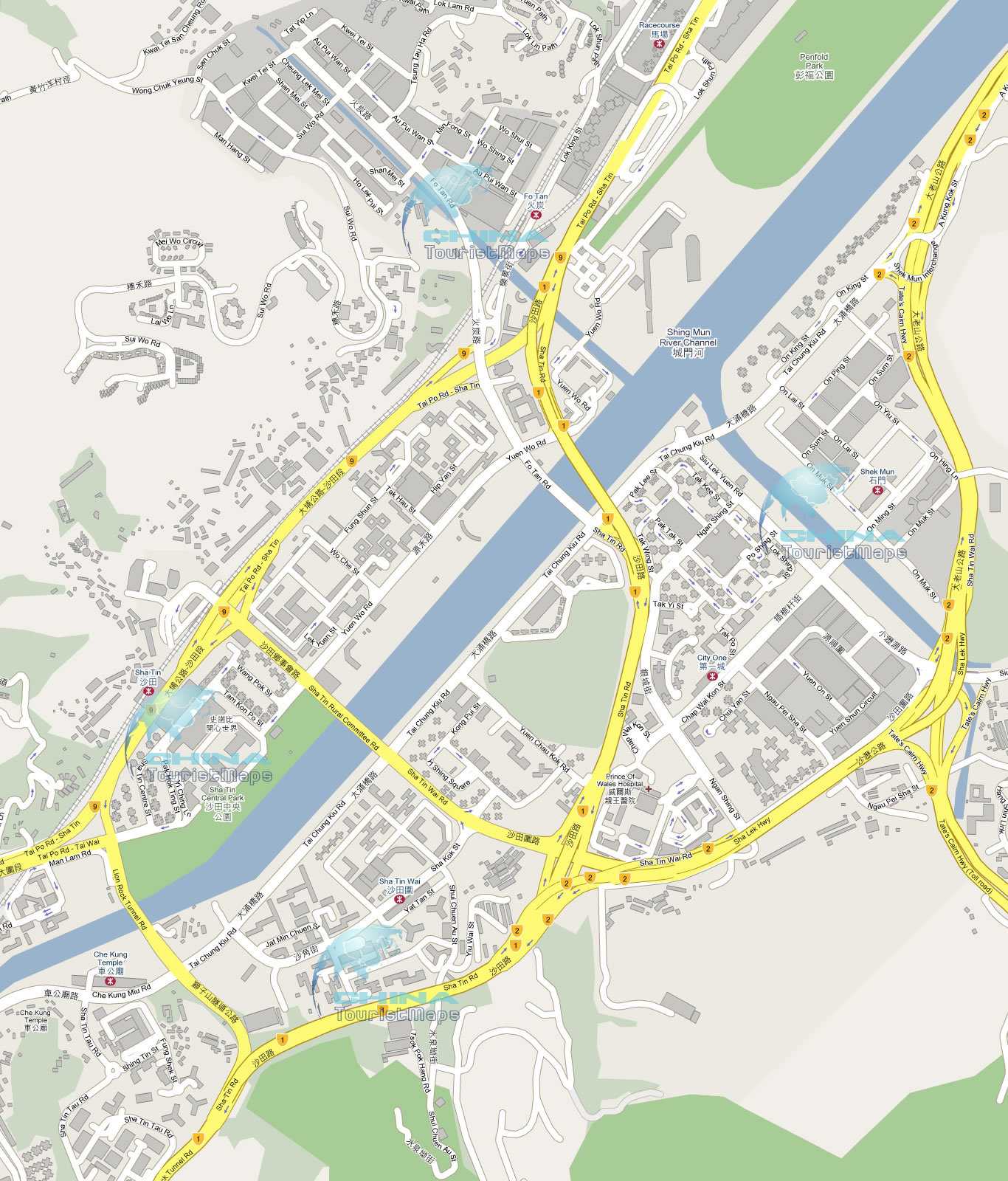Detailed Map of Streets Roads in Sha Tin New Territories