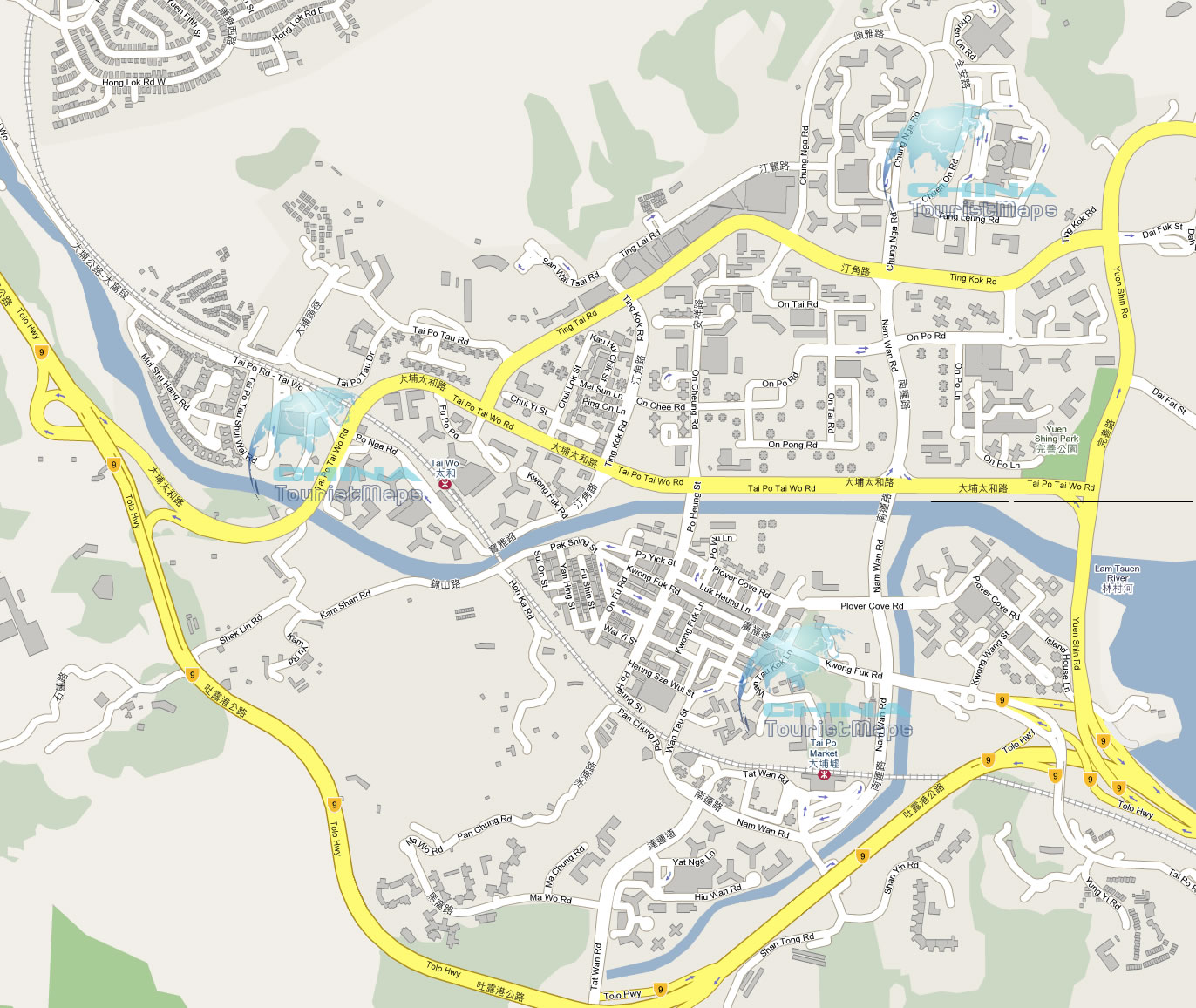 Map of Streets Roads in Tai Po Market New Territories