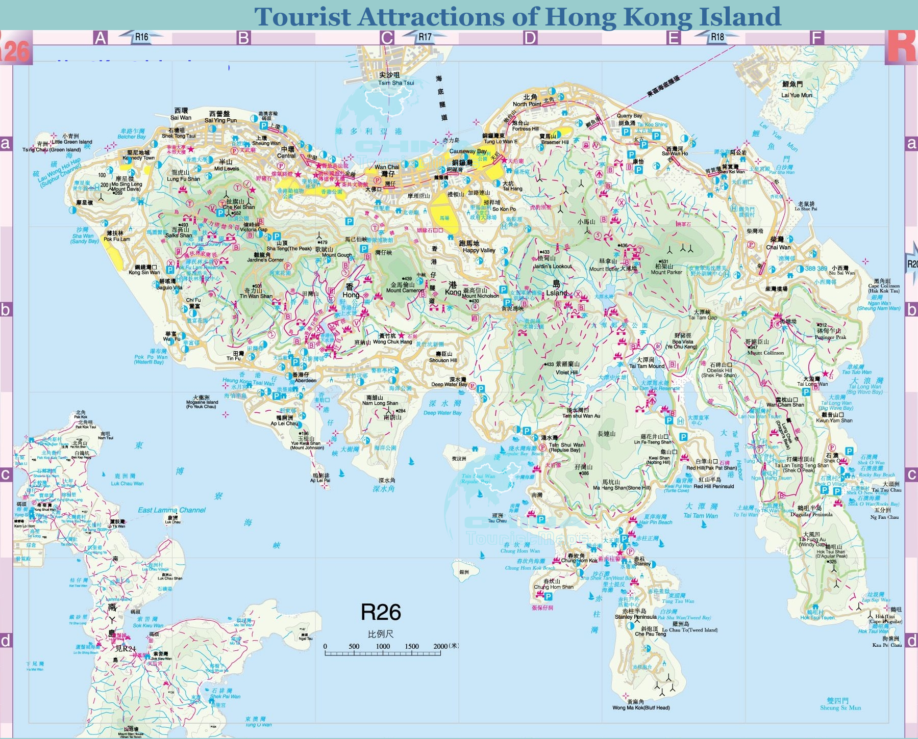 tourist map of hong kong island  layout travel guide - tourist attractions routes of hong kong island