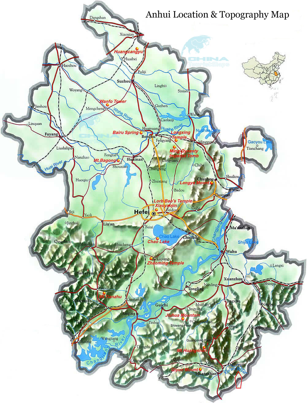 Anhui Map Map Of Anhui Anhui Province Map