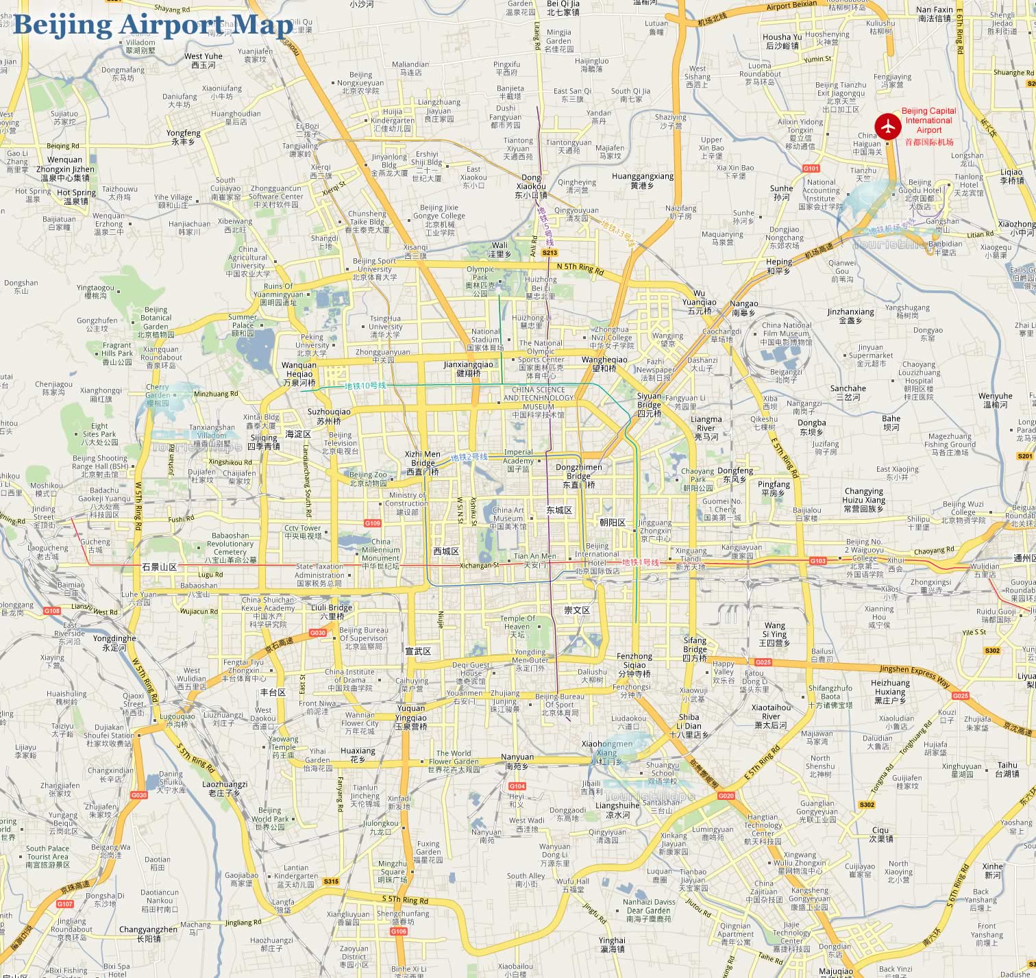 Location map of beijing capital international airport beijing airport location map publicscrutiny Image collections