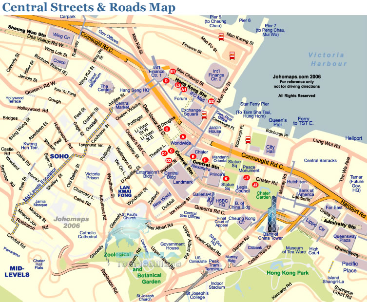 Map of Central Streets Roads Areas Districts