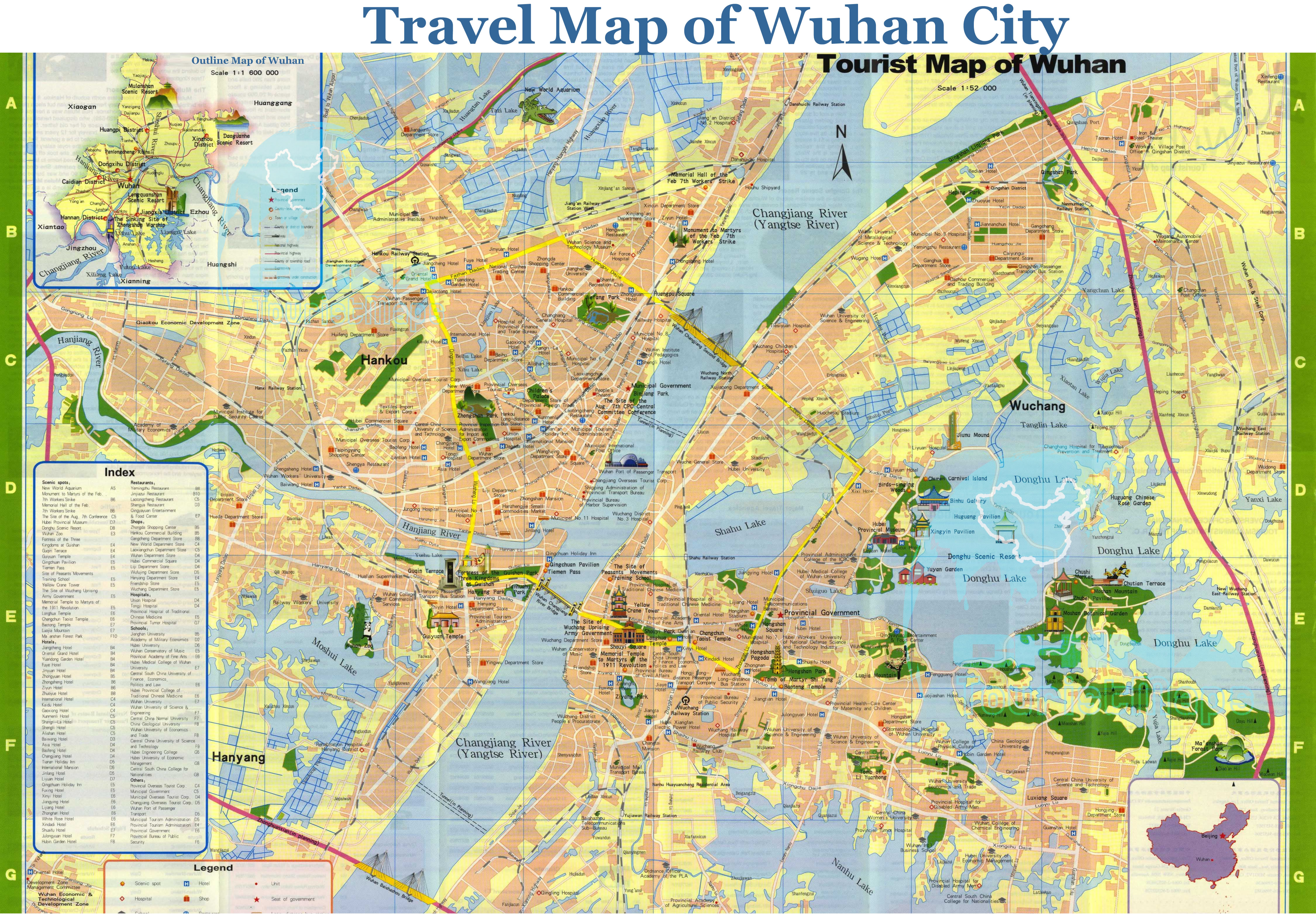 Detailed Travel Map of Wuhan Wuhan driving direction Map Wuhan