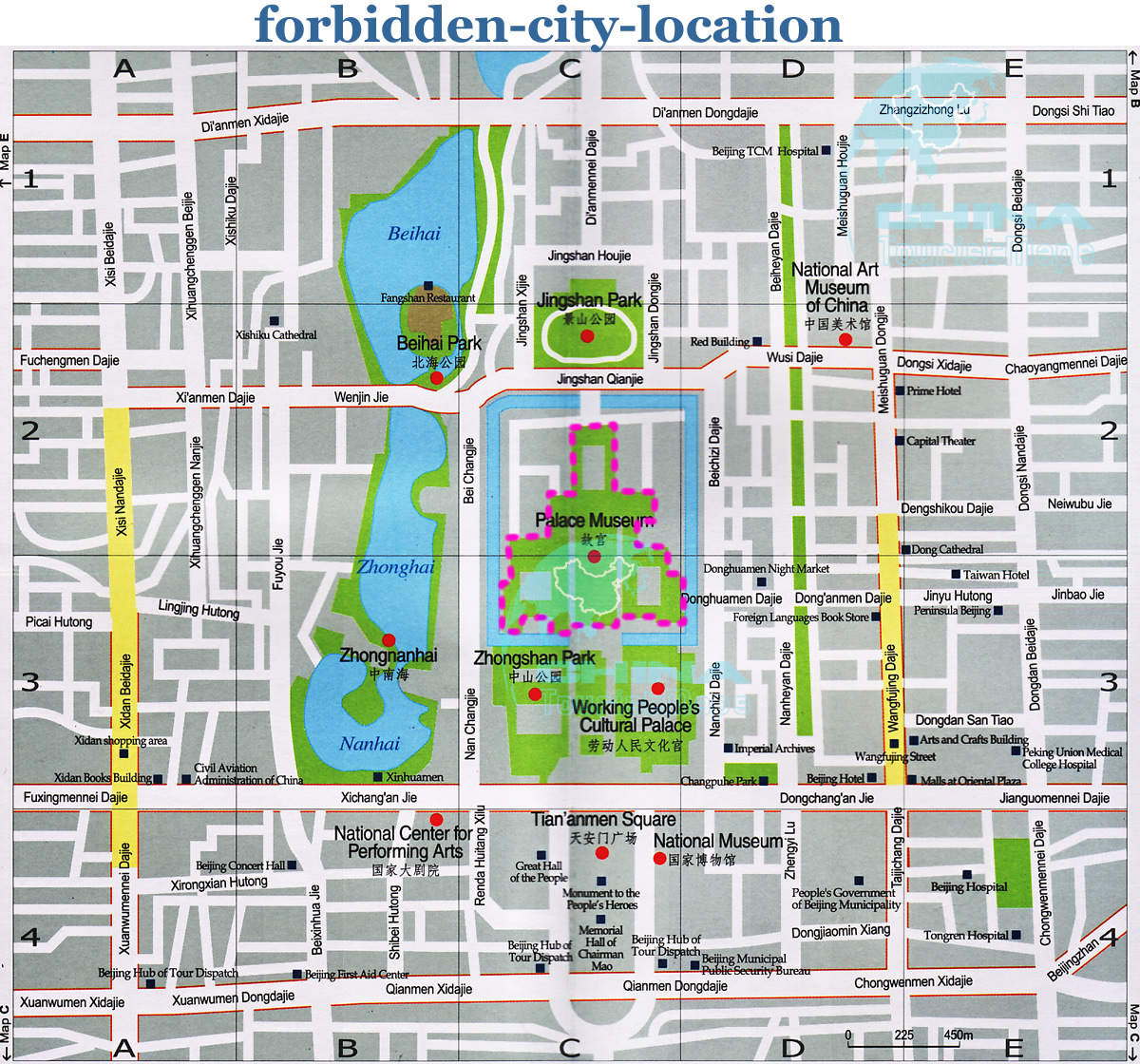 Forbidden city china map