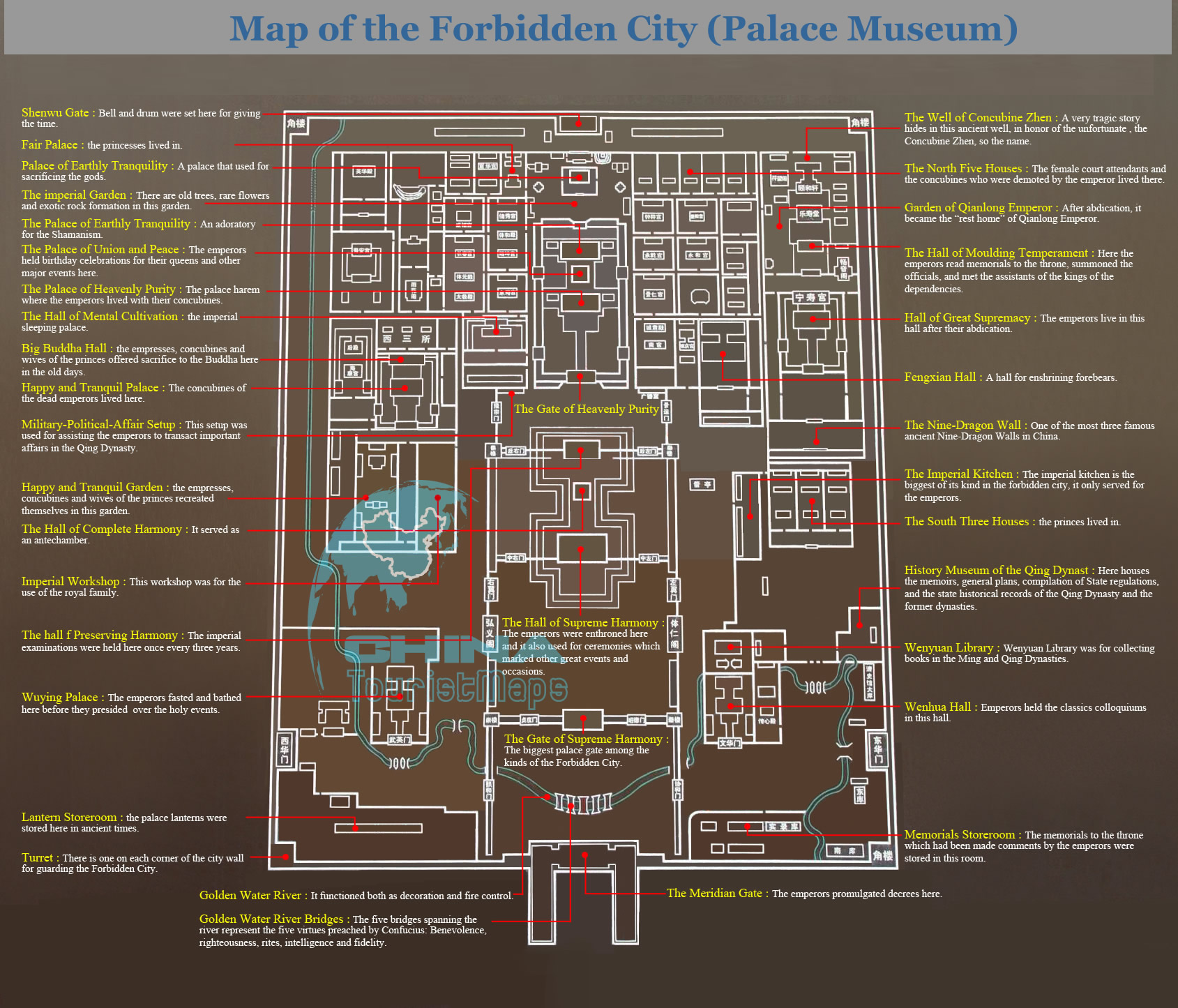 Detailed Tourist Map of the Forbidden City Palace Museum Beijing