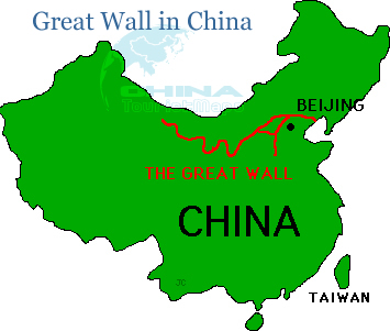 Great Wall In China Map Great Wall Location In China