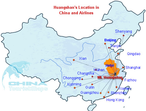 Map of Huangshans Location in China and Huangshan Flights