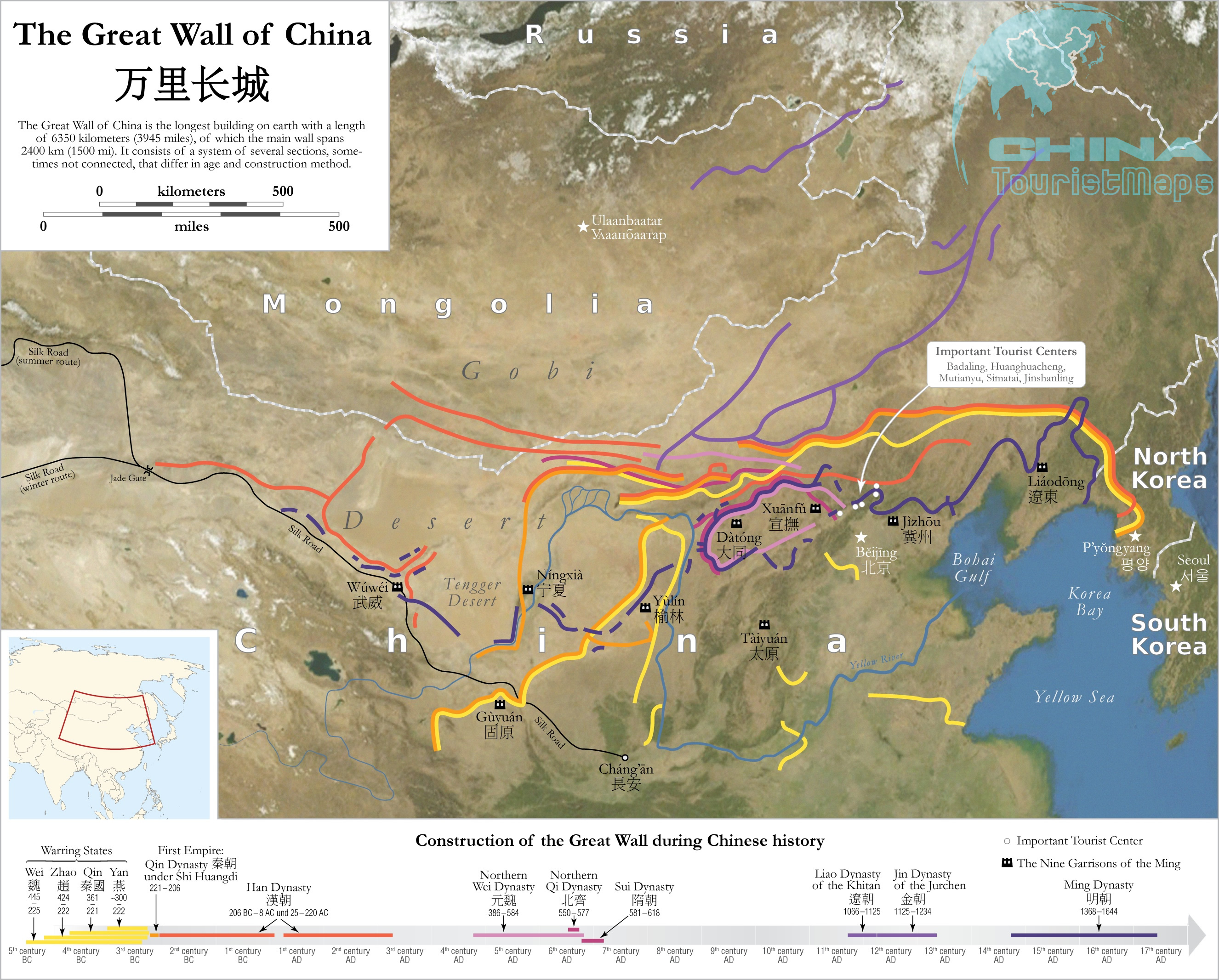 Map of the Great Wall in China Great Wall Location in China Map