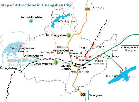 Map Of Tourist Attractions In Huangshan City Anhui China