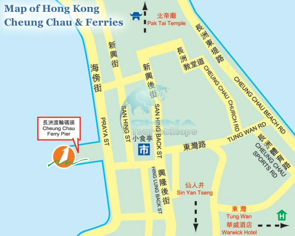map of hong kong. Map of Hong Kong Cheung Chau amp;