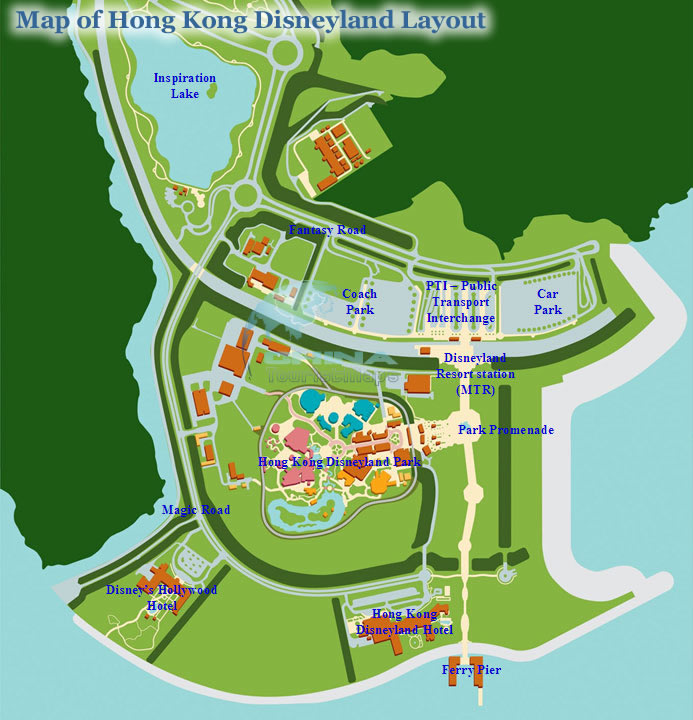 Hong kong disneyland resort maps hotels theme parks ticket map of hong kong disneyland resort layout publicscrutiny Images
