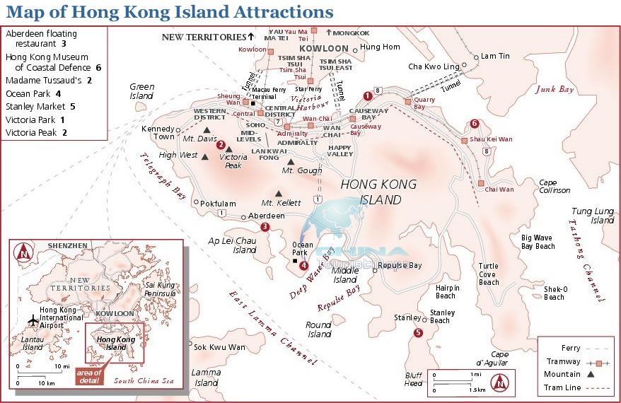 Map of Attractions in Hong Kong Island Peak Ocean Park etc