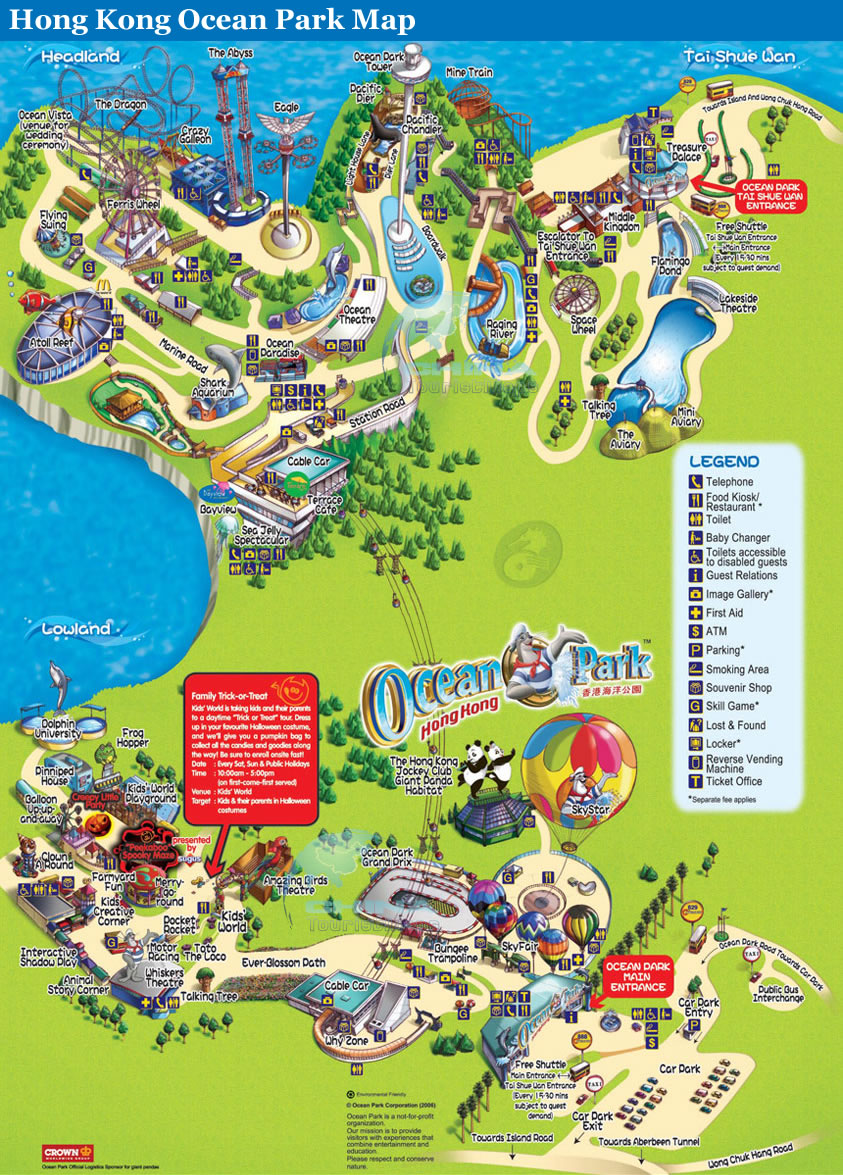 Detailed Map of Hong Kong Ocean Park Tourist Attractions
