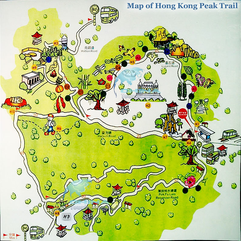 Map of Victoria Peak the Peak Trail Hong Kong