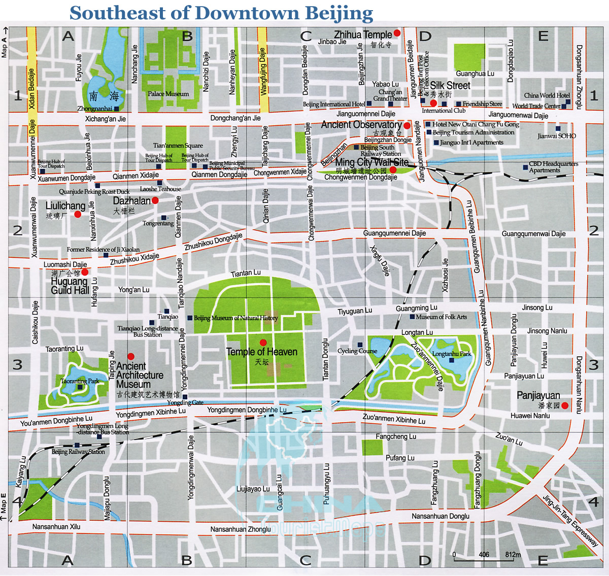 Map of Beijing the Southeast Part of Downtown Beijing China – Beijing Travel Map
