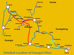Detailed Guangxi Cities Location Map
